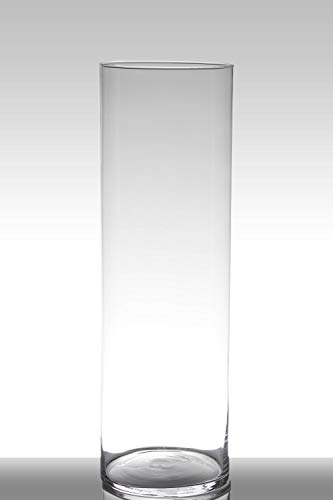 INNA-Glas Vase à Poser au Sol en Verre Sansa, Cylindre - Rond, Transparent, 60cm, Ø 19cm - Vase cylindrique - Vase Transparent