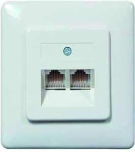 PROTEC.NET PUAE - Enchufe para 2 Conectores RJ45 2x8(8) RW