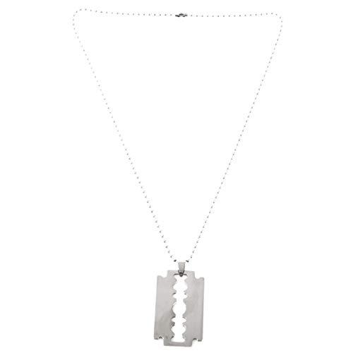 SODIAL(R) Maenner Edelstahl Rasierklinge- Anhaenger Ketten Halskette Silber