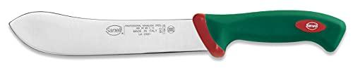 Sanelli linea Premana Professional Coltello Scimitarra Larga XL, Acciaio inox, Verde/Rosso, lunghezza lama 20 cm.