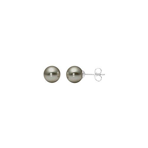 Heideman Ohrringe Damen Perlohrstecker aus Edelstahl silber farbend poliert Ohrstecker für Frauen mit Swarovski Perle grau rund 8mm