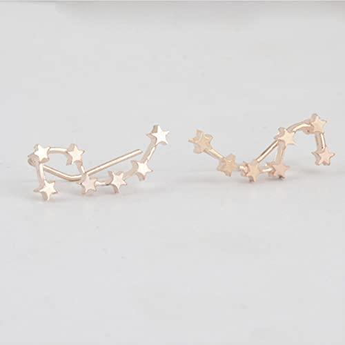 LPNJLALA 1 par Big Dipper Zodiac Constellation Ear Charm Oro Plata Color escaladores Pendientes de orugas para Mujer joyería