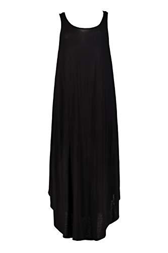Ulla Popken Damen große Größen bis 64, Strandkleid aus Jersey, transparente Spitzen-Details, Rundhalsausschnitt, breite Träger, ausgestellter und gerundeter Saum, schwarz 54/56 722084 10-54+