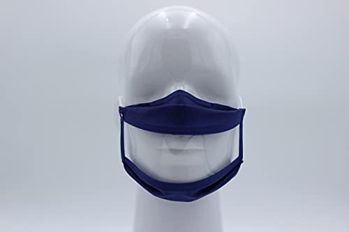 MS Life - Maschera in tessuto Sourire Panoramica, trasparente, lavabile, riutilizzabile, taglia unica, confezione da 3, 50 lavaggi, prodotto in Francia (blu)