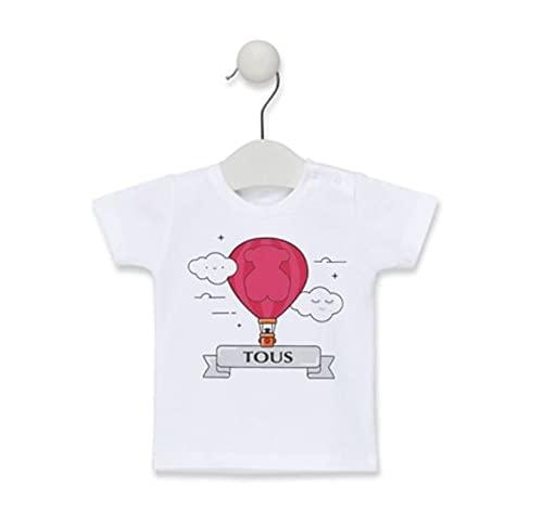TOUS BABY - Camiseta Manga Corta con Estampado Central Globo para tu Bebé. Color Rosa. Talla 6-12 Meses