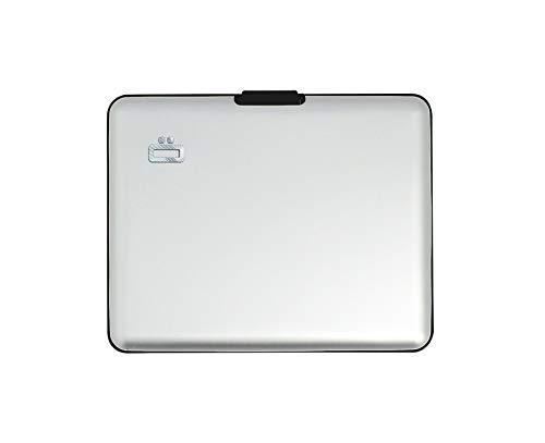 Ögon Smart Wallets -Big Stockholm Cartera Tarjetero - Protección RFID: Protege Tus Tarjetas de Robar - hasta 10 Tarjetas + Recetas + Notas - Aluminio anodizado (Silver)