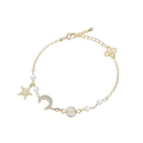 MENGHUA Star Moon Zircon Forest Pearl Bracelet Mujeres Diseño de Moda Imitación Pearl Bracelet 220