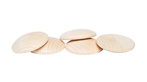 Holzplatinen, gewölbt, Ø 40 mm, 5 Stück
