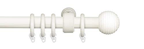 Liedeco Gardinenstange Vorhangstange Stilgarnitur Komplettgarnitur Terra Kugel Rille   Holz   weiß, grau   28 mm Ø (kalkweiß, 160 cm)