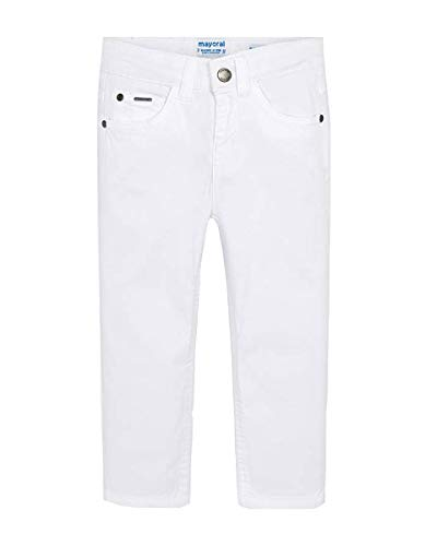 Mayoral Pantalone in Cotone Slim Fit, 7 Anni (122cm), Bianco