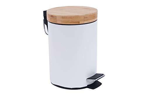 EMAKO Kosmetikeimer Treteimer Badeimer Metall mit einem Bambusdeckel Weiß 26 x 21 x 21 cm (weiß)