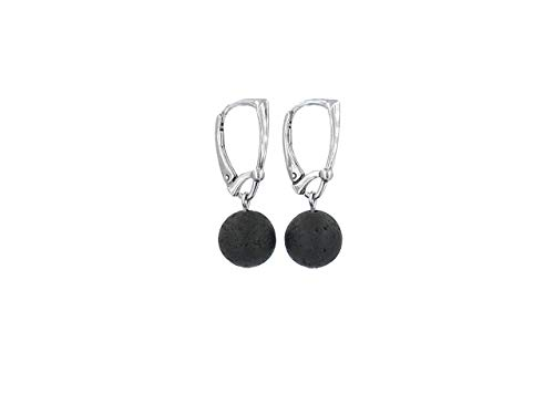 Round lava rock bead dangle sterling silver leverback earrings