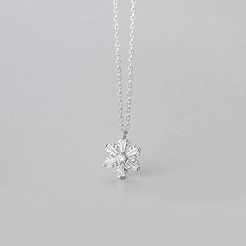 Good dress Collar de plata S925, señoras hueco solo diamante copo de nieve diamante clavícula cadena s925 collar de plata