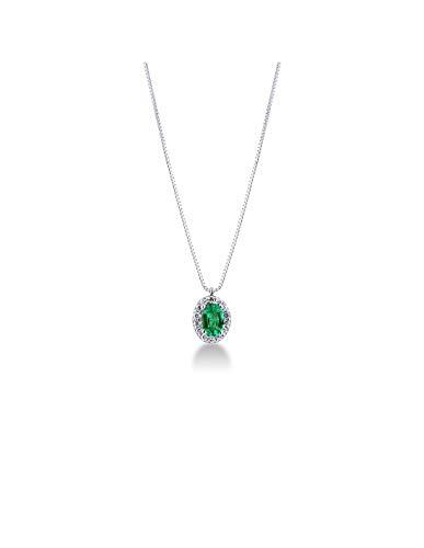 Gioielli di Valenza - Collana in Oro Bianco 18 k con Smeraldo e Diamanti - CIN2106CBBS