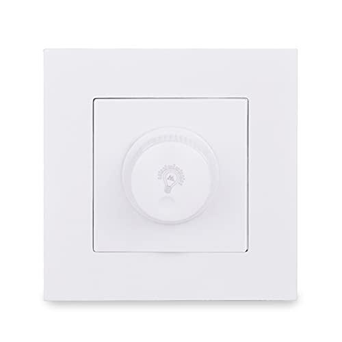 Yuanjing-Switch Regulador de Dimmer para Bombilla LED/Lámpara Incandescente Panel PC Interruptor de luz de Pared 16A 15-300W Brillo Ajustable E20 Serie (Color : White)