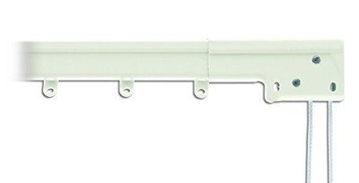 Super Heavy Duty Traverse Curtain Rod 38-66 Inch, White (Center Draw)