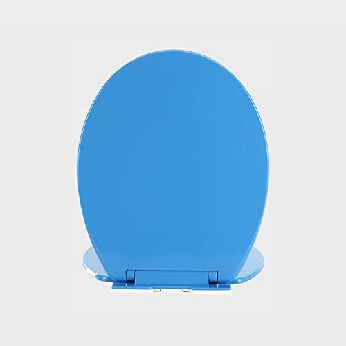 SunLin Toilet Seat Azul, Asiento De Inodoro Espesar, Tapa WC O Forma Dedicada, con Accesorios De Montaje, Fácil De Instalar Y Limpiar, Desmontaje Rápido, Fuerte Y Robusto(1 Pieza)