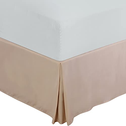 Utopia Bedding Twin Bed Skirt - Soft Quadruple Pleated Ruffle - Easy Fit with 15 Inch Tailored Drop - Hotel Quality, Shrinkage and Fade Resistant (Twin, Beige)