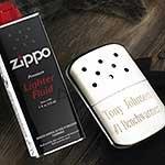 Zippo - Scaldamani e liquido specifico, personalizzazione inclusa