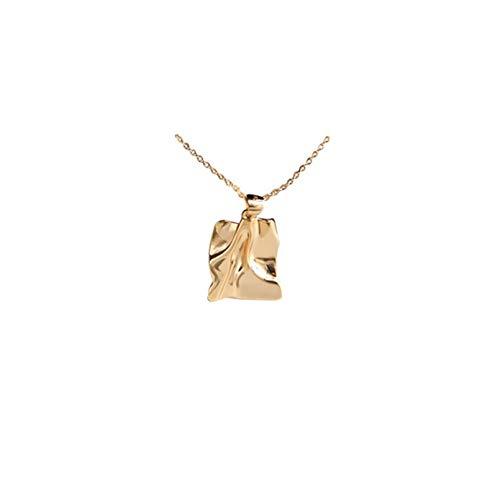QiuYueShangMao Stil Frauen personalisierte Anhänger Halskette Mädchen zarte Welle Fliesen Charm Halskette Freundschaftshalskette Herzförmig