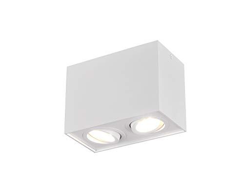 Trio - Lampada da soffitto a Forma di cubo, con LED e 2 faretti orientabili, Colore: Bianco Opaco