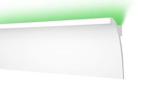 LED Zierleiste 45x120cm - effektvolle Deckengestaltung mit indirekter Beleuchtung - Stuckleiste aus hartem Styropor, leicht und stabil - 2 Meter Leiste, CK3
