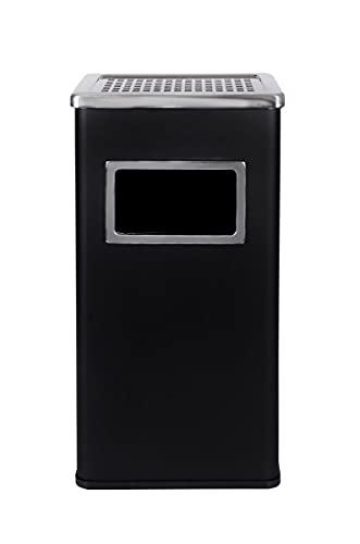 Metlex - Soporte del cenicero del Cigarrillo del Cubo de la Basura del Polvo del Acero Inoxidable de la posición Libre (Negro)- MX2075