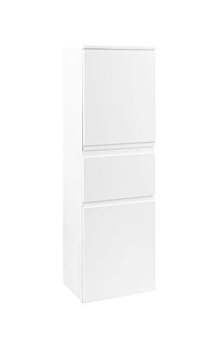 lifestyle4living Badezimmerschrank in Weiß, Hochglanz, schmal | Halbhoher Midischrank mit 2 Türen, 1 Schubkasten und 2 Einlegeböden