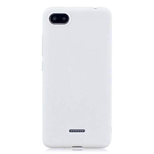 cuzz Funda para Xiaomi Redmi 6A+{Protector de Pantalla de Vidrio Templado} Carcasa Silicona Suave Gel Rasguño y Resistente Teléfono Móvil Cover-Blanco