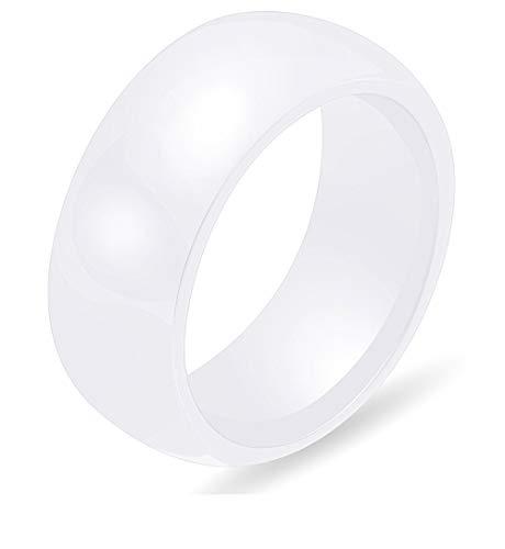 PAURO Damen Schmuck Hoch Poliert Klassisch Design Engagement Hochzeit Band Ringe Keramik Weiß Größe 62 (19.7)