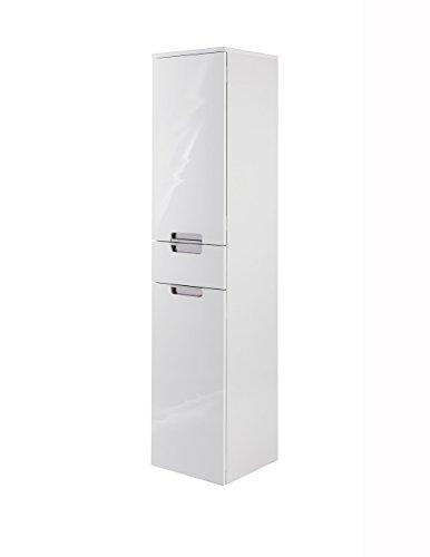 lifestyle4living Badezimmerschrank in Weiß, Hochglanz, schmal | Hochschrank mit 2 Türen, 1 Schubkasten und 2 Einlegeböden