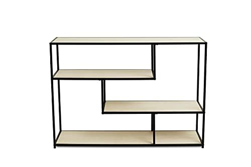 LIFA LIVING Mobile Ingresso, Libreria Scaffale in Legno e Metallo, Mobiletto Multiuso per TV, Cucina, Soggiorno, 116 x 35 x 82 cm