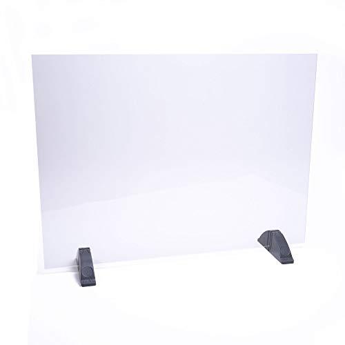 DHE Spuckschutz ohne Durchreiche, Hustenschutz Niesschutz Hygieneschutz, Thekenaufsatz Tischaufsatz Tresenaufsatz, Kunststoffglas, Größe: 75 x 50cm