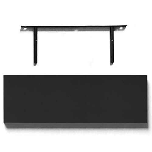 ADHW Wall Wood Gloss Floating Shelves Storage Shelf Bookcase Display Home Decor Unit (Size : Black-H3.8*L90*W23.5cm)