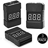 LiPo Battery Checker - RC 1-8S Battery Tester Monitor - Low Voltage Buzzer Alarm - with LED Indicator - for Lipo Life LiMn Li-ion Battery (3 Pack)