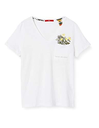 s.Oliver Damen T-Shirt, 01D1 White Print, 36