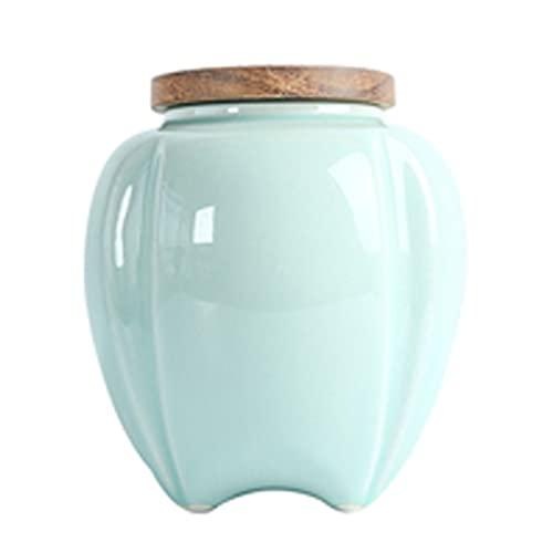 DFSDG Cerámica de té pequeño Caddy Caja de Almacenamiento de gres contenedor de Olla con Boca Redondeada y Plana.Toma té y guárdelo libremente. (Color : Style B)