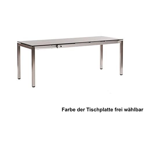 Sonnenpartner Ausziehtisch Base 160/210x90 cm Edelstahl mit wählbarer Tischplatte HPL Gartentisch ausziehbar Tischplatte Compact HPL Beton-hell
