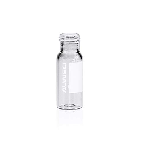 Autosampler Vial, Clear Chromatography Lab Vial, HPLC LC GC 1.5 ml Wide Opening Short Screw-Thread Sample Vial with Write-on Spot, Clear, 12x32mm, 8-425 Top Type, 100 pcs/pk by ALWSCI