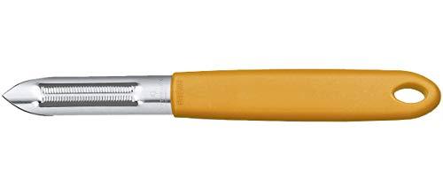 Victorinox Universalschäler mit Zackenschliffklinge, Zweischneidig, Rostfrei, Edelstahl, Spülmaschinengeeignet, orange
