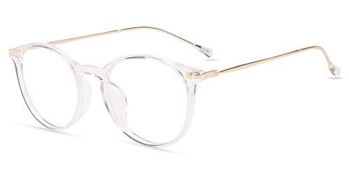 Firmoo Anti Blaulicht Computer Brille Blaulichtfilter Brille ohne Sehstärke für Damen Herren, Retro Pantobrille Transparent Blaulichtblockierend Blendfrei