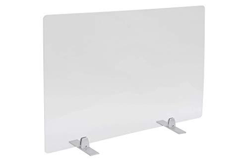 PlexiDirect - Spuckschutz Plexiglas Schutzwand Thekenaufsatz Trennwand Büro Schreibtisch Acrylglas Büroschirm Niesschutz, 3mm Schirm, Alumininum-Silber Bein, Große Schirm: 1000 x 650 mm (BxH)