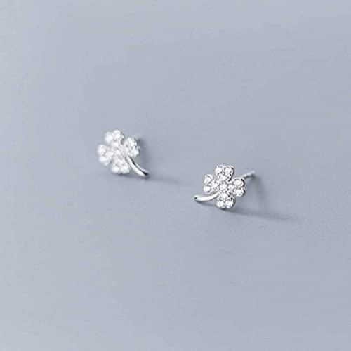 Good dress Pendientes de plata S925, pendientes de hoja de diamante para mujer, pendientes de plata S925