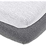 Cradle Sheets Fitted 18 x 36 –Compatible with Arms Reach Co Sleeper Clear Vue, Cambria, Mini Ezee Bassinets – Fits Without Bunching Mattress –Snuggly Soft Jersey Cotton –Heather Grey –2 Pack
