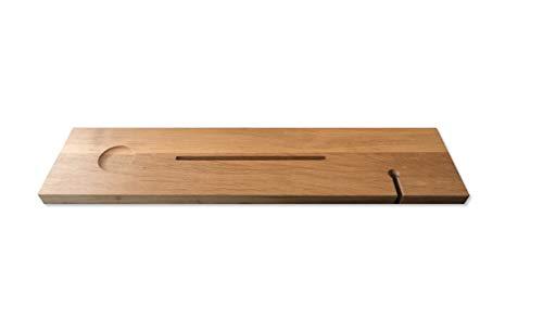 Badplank met wijnglas uitsparing en tablet houder - Luxe eikenhout 85 x 20 x 3 cm - Houten Badkuip plank
