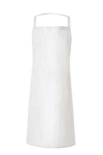 JOBLINE - Delantal con bolsillos, diseño de cocinero, color blanco, paquete de 05 unidades
