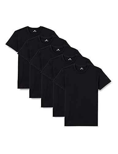 Lower East 5er Pack schwarze Herren T-Shirts mit Rundhalsausschnitt, Schwarz, XL