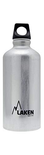 Bouteille d'eau en aluminium Futura de Laken avec bouchon à vis et goulot étroit, Gourde Alum 0,6 Litre, Argent