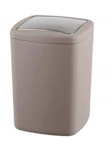 WENKO Schwingdeckeleimer Barcelona L Taupe - Kosmetikeimer, absolut bruchsicher Fassungsvermögen: 8.5 l, Kunststoff (TPE), 20.5 x 28.5 x 20.5 cm, Taupe