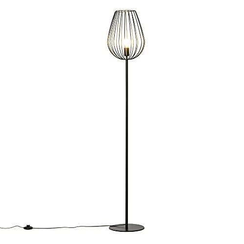 homcom Lampada da Terra Design Industriale retrò, Paralume in Metallo, Illuminazione Interni Casa, Studio, Ufficio